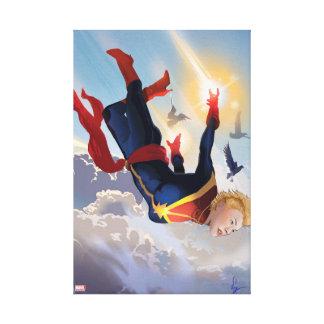 Captain Marvel Entering The Atmosphere Canvas Print