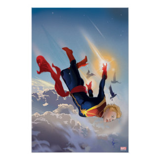 Captain Marvel Entering The Atmosphere Poster