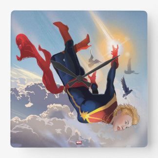 Captain Marvel Entering The Atmosphere Square Wall Clock