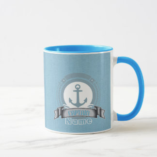 CAPTAIN personalized boat sailing nautical emblem Mug