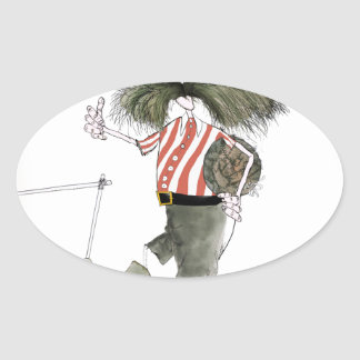 captain red white stripes oval sticker
