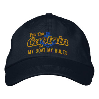 Captain says My Boat My Rules Embroidered Baseball Caps