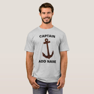 Captain T-Shirt Can Add Name with Anchor on Front