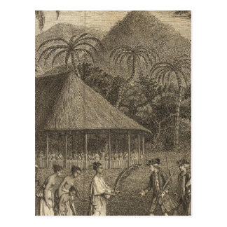 Captain Wallis and Tahitians Postcard