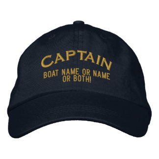 Captain Your Boat Name Your Name or Both! Embroidered Hats
