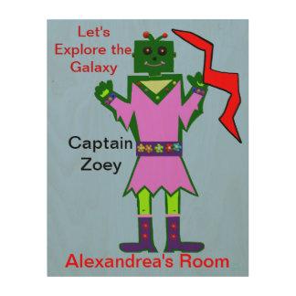 Captain Zoey Girl Robot Alien Kids Wood Prints