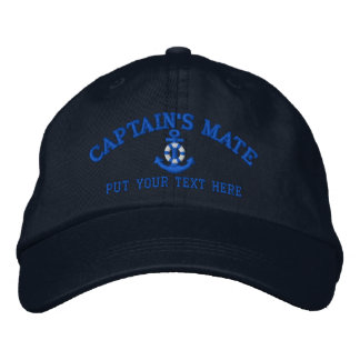 Captain's Mate Your Boat Name Your Name or Both Embroidered Baseball Cap