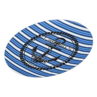 Captain's-Table-Stripes-Anchor-Silver-Blue(c) Plate