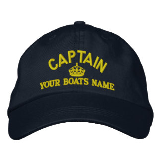Captains text with crown embroidered hat