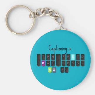 Captioning is Cool Steno Keyboard Key Fob Basic Round Button Key Ring