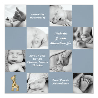 Captivating 8 Blue - Photo Birth Announcement