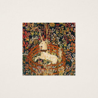 Captive Unicorn Medieval tapestry image Square Business Card