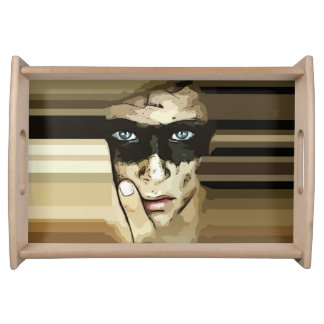 Capuchino masked man flowers Tray