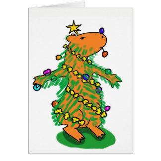 Capybara Christmas tree card