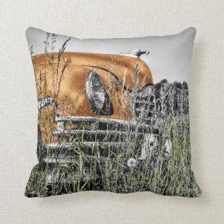 Car amid the Weeds Cushion