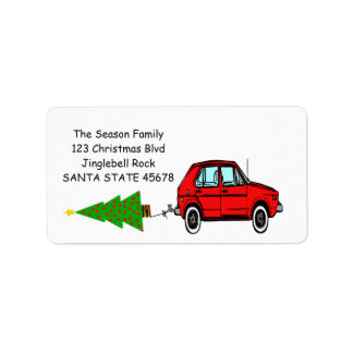 Car and tree Christmas label Address Label