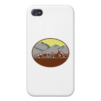 Car being towed Away Mountains Oval Woodcut Case For iPhone 4