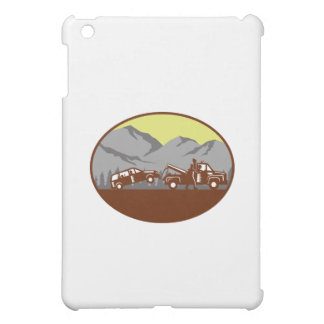 Car being towed Away Mountains Oval Woodcut Case For The iPad Mini