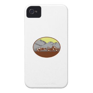 Car being towed Away Mountains Oval Woodcut iPhone 4 Case