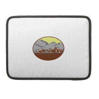Car being towed Away Mountains Oval Woodcut Sleeve For MacBook Pro