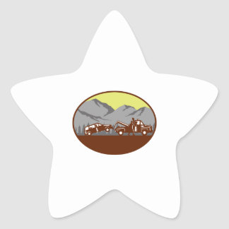 Car being towed Away Mountains Oval Woodcut Star Sticker