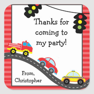 Car Birthday Party Thank You Stickers