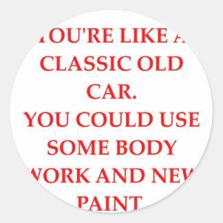 CAR CLASSIC ROUND STICKER