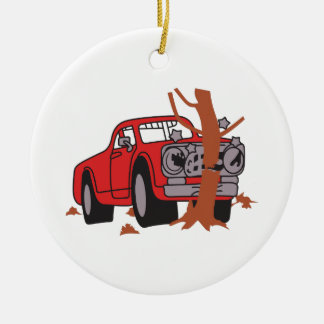 CAR CRASH SCENE CERAMIC ORNAMENT