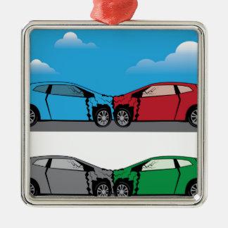 Car Crash vector Silver-Colored Square Decoration