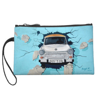 Car Crashing Through Wall Street Art Graffiti Bag Wristlet Clutch