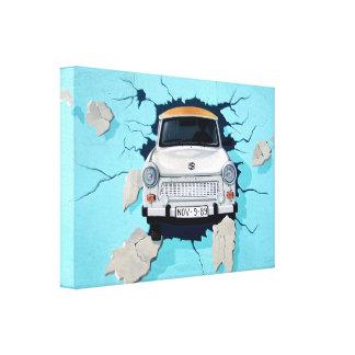 Car crosses a wall canvas print