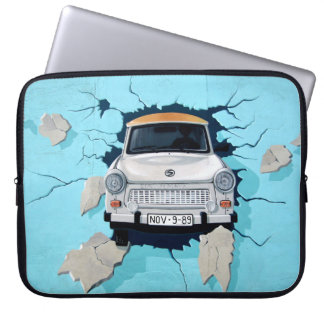 Car crosses a wall laptop computer sleeve