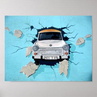 Car crosses a wall poster