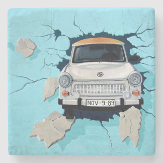 Car crosses a wall stone beverage coaster