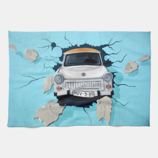 Car crosses a wall towel