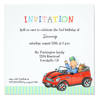 Car dog driver boy's birthday party invitation