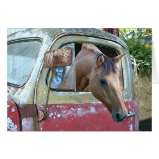 Car driving horse card