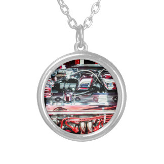 Car Engine Silver Plated Necklace