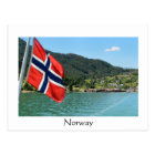 Car ferry in Norway white text postcard