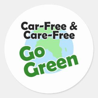 car free & care free - go green round sticker