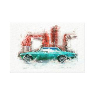 Car. Grunge design, water color Canvas Print