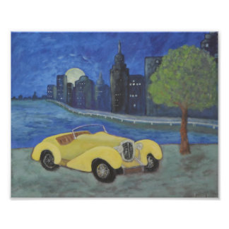 Car In City Painting Photo Print