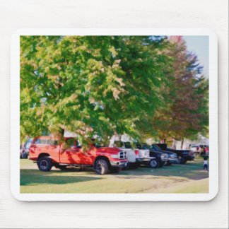 Car in green nature mouse pad