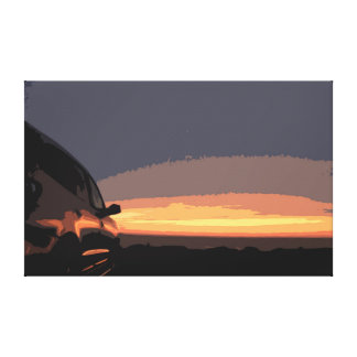 Car in Sunset by the Ocean Canvas