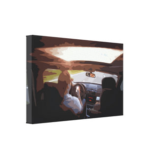 Car Interior while Traveling at High-Speed Canvas Print
