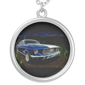 Car lighting silver plated necklace
