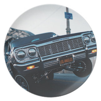 Car Low Rider Vintage Oldschool Automotive Driving Plate