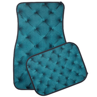 Car Mats Full Set print with teal blue capitone