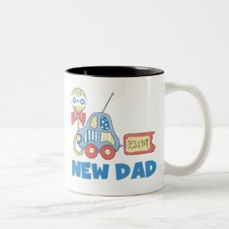Car New Dad It's a Boy Two-Tone Coffee Mug