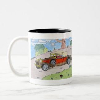 car on the way Two-Tone coffee mug